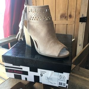 Not Rated Chiara Cream Peep Toe Ankle Bootie NEW